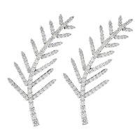 1996 Tiffany & Co. 7.00 CTW Diamond Platinum Foliate Brooch Clips