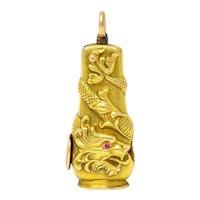 Art Nouveau Ruby 14 Karat Rose Gold Cigar Cutter Pendant