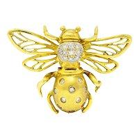 1990's Robert Wander Vintage Diamond 18 Karat Gold Insect Brooch