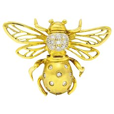 1990's Robert Wander Vintage Diamond 18 Karat Gold Insect Brooch