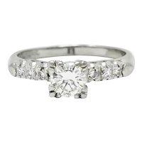 1940's Retro 0.78 CTW Diamond Platinum Fishtail Engagement Ring