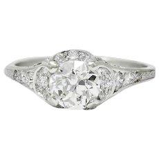 Art Deco 1.58 CTW Diamond Platinum Engagement Ring
