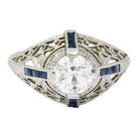Art Deco 1.32 CTW Diamond Sapphire Platinum Foliate Engagement Ring