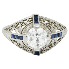 Art Deco 1.32 CTW Diamond Sapphire Platinum Foliate Engagement Ring