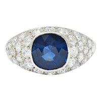 1950's Mid-Century 5.09 CTW No Heat Sapphire Diamond Platinum Bombe Ring