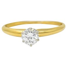 1950's Tiffany & Co. 0.50 CTW Diamond Platinum 14 Karat Gold Solitaire Engagement Ring