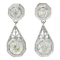 Art Deco 2.96 CTW Diamond Platinum Octagonal Drop Earrings