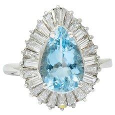 1950's Mid-Century 4.61 CTW Aquamarine Diamond Platinum Ballerina Halo Ring
