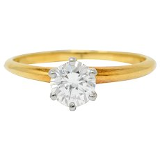 1950's Tiffany & Co. 0.35 CTW Diamond 14 Karat Gold Solitaire Engagement Ring