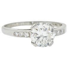 Art Deco 1.20 CTW Diamond Platinum Wide Prong Engagement Ring
