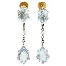 Retro 4.24 CTW Aquamarine Natural Freshwater Pearl Platinum-Topped 14 Karat Gold Screwback Earrings