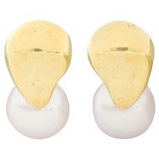 Mikimoto Vintage Cultured Pearl 18 Karat Gold Stud Earrings