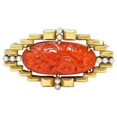 Krementz Carved Coral Pearl 14 Karat Gold Brooch Circa 1925