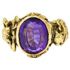 Neoclassical Amethyst 18 Karat Gold Hellenistic Hermes Demeter Signet Ring