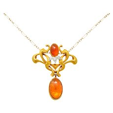 Art Nouveau Mexican Fire Opal Diamond 14 Karat Gold Whiplash Pendant Necklace