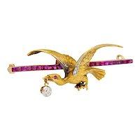 Edwardian 1.00 CTW Ruby Diamond Platinum-Topped 14 Karat Gold Eagle Bar Brooch