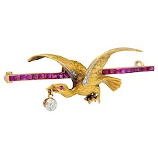 Edwardian 1.00 CTW Ruby Diamond Platinum-Topped 14 Karat Gold Eagle Bar Brooch