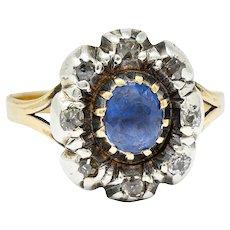 1800 Georgian 1.30 CTW Sapphire Diamond Silver-Topped 14 Karat Gold Floral Cluster Ring