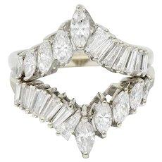 1950's Mid-Century 2.00 CTW Diamond 14 Karat White Gold Chevron Band Rings