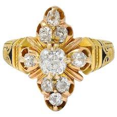 Art Deco 1.00 CTW Diamond Enamel 18 Karat Gold Navette Cluster Ring