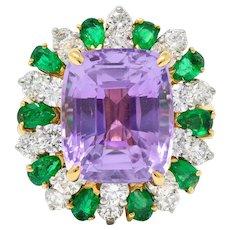 Oscar Heyman 15.05 CTW No Heat Ceylon Sapphire Emerald Diamond 18 Karat Gold Convertible Pendant Ring AGL