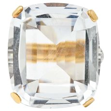 1950's Rock Crystal Quartz Diamond 18 Karat Two-Tone Gold Statement Ring