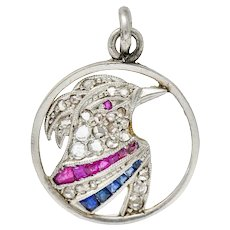 Art Deco Diamond Ruby Sapphire Platinum-topped 18 Karat Gold Heron Bird Charm