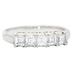 Endearing 0.78 CTW Diamond Platinum Five Stone Band Ring