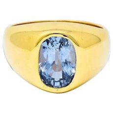 1940's Retro 3.40 CTW Ceylon Sapphire 14 Karat Gold Unisex Signet Ring