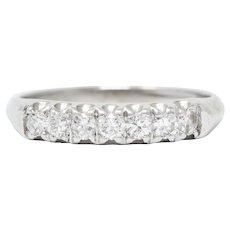 1940's Retro 0.35 CTW Diamond Platinum Fishtail Band Ring