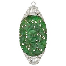 Art Deco Diamond Carved Jadeite Jade Diamond Platinum Pendant Brooch GIA