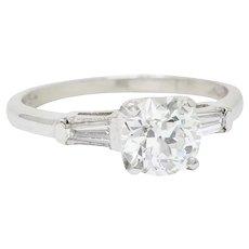 United Jewelers Inc. Retro 1.26 CTW Diamond Platinum Engagement Ring GIA