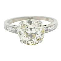 1930's Art Deco 3.20 CTW Diamond Platinum Engagement Ring GIA