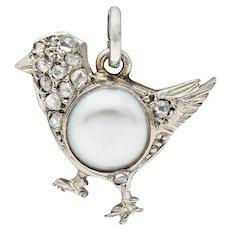 1920's Art Deco Pave Diamond Pearl Platinum Chick Charm