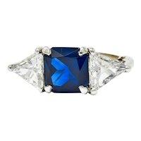 1950's Mid-Century 4.59 CTW No Heat Sapphire Diamond Platinum Three Stone Ring GIA