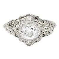 Wheeler & Co. Edwardian 1.05 CTW Diamond Platinum Scrolled Engagement Ring
