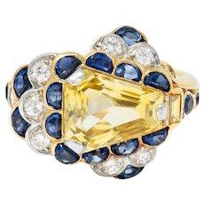 1950's 6.12 CTW Yellow Sapphire Diamond 18 Karat Gold Cluster Ring