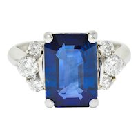 4.96 CTW Sapphire Diamond Platinum Gemstone Ring GIA