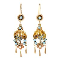 Victorian Pearl Glass Cabochon 14 Karat Tri-Colored Gold Bird & Foliate Drop Earrings