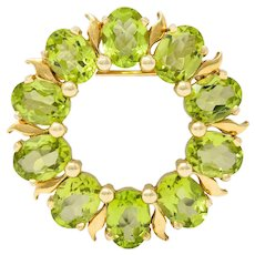 Tiffany & Co. Retro 14 Karat Gold Peridot Circle Brooch