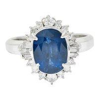 3.50 CTW Sapphire Diamond Platinum Cluster Ring