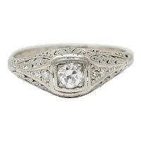 1925 Early Art Deco 0.32 CTW Diamond Platinum Foliate Engagement Ring