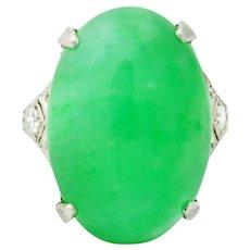 1930's Art Deco Jadeite Jade Diamond Platinum Cabochon Ring GIA