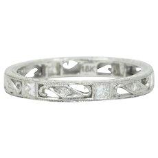 Contemporary 0.45 CTW Diamond 18 Karat White Gold Eternity Band Ring