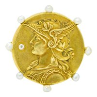 Art Nouveau Diamond Pearl 14 Karat Gold Athena Brooch