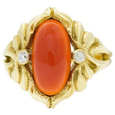 Art Nouveau Carnelian Diamond 14 Karat Gold Foliate Whiplash Ring