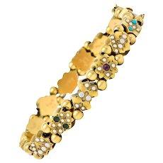 Victorian Multi-Gem 14 Karat Gold Slide Link Bracelet
