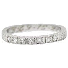 1928 Art Deco Diamond Platinum Orange Blossom Band Ring