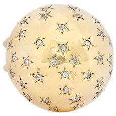 1940's Retro 0.75 CTW Diamond 14 Karat Gold Dome Ring