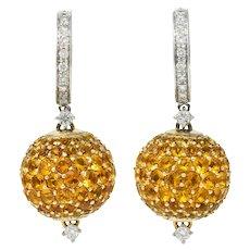 Casato 18.55 CTW Orange Sapphire Diamond 18 Karat White Gold Pave Ball Earrings